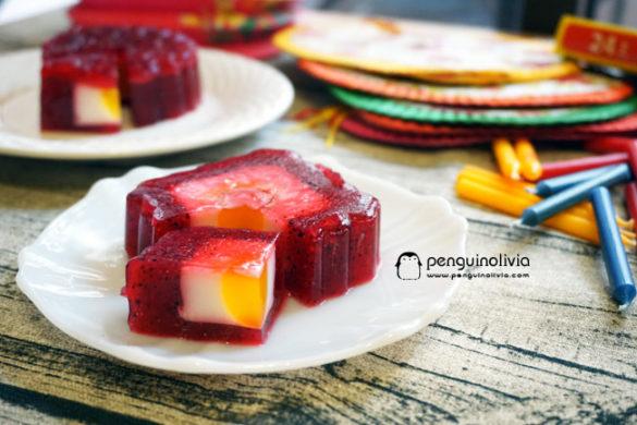火龍果/龍珠果燕菜月餅食譜 Dragonfruit Jelly Mooncake Recipe